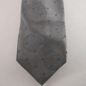 Sturbridge men's blended silk tie in silver /teal